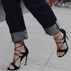 Stewart Weitzman leg wrap lace up black heel 8